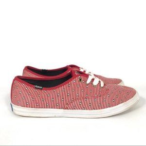 Keds Taylor Swift Red Polka Dot Striped Sneakers 9